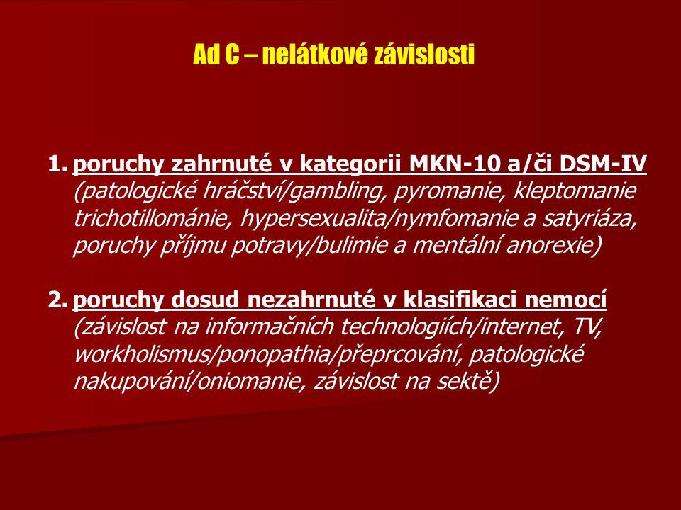 Ad C – nelátkové závislosti 1.poruchy zahrnuté v kategorii MKN-10 a/či DSM-IV (patologické hráčství/gambling, pyromanie, kleptomanie trichotillománie,