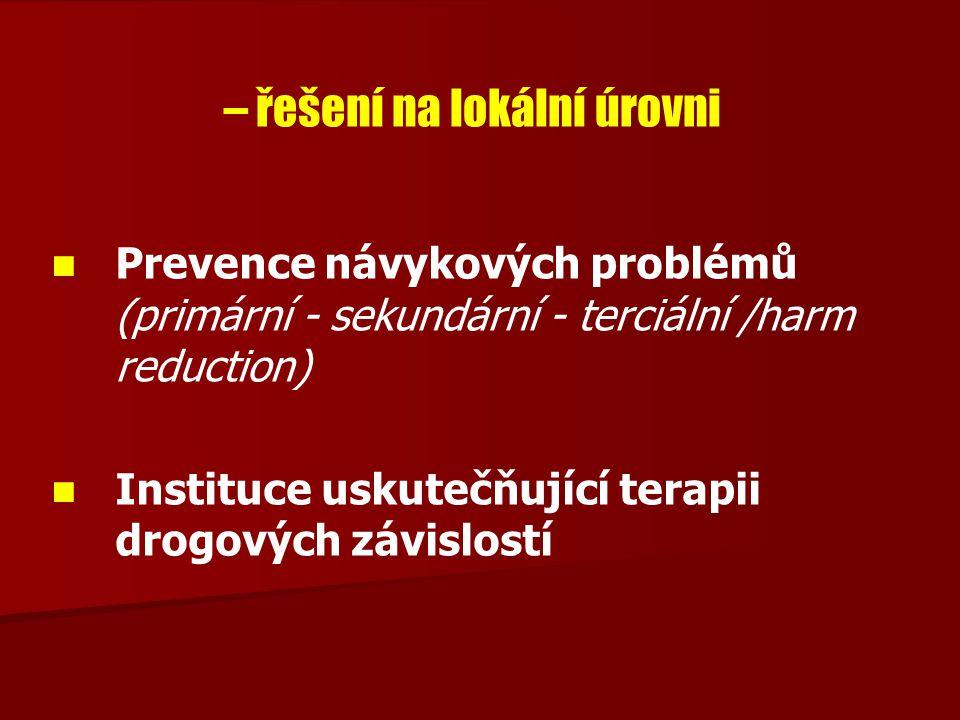 – řešení na lokální úrovni Prevence návykových problémů (primární - sekundární - terciální /harm reduction) Instituce uskutečňující terapii drogových