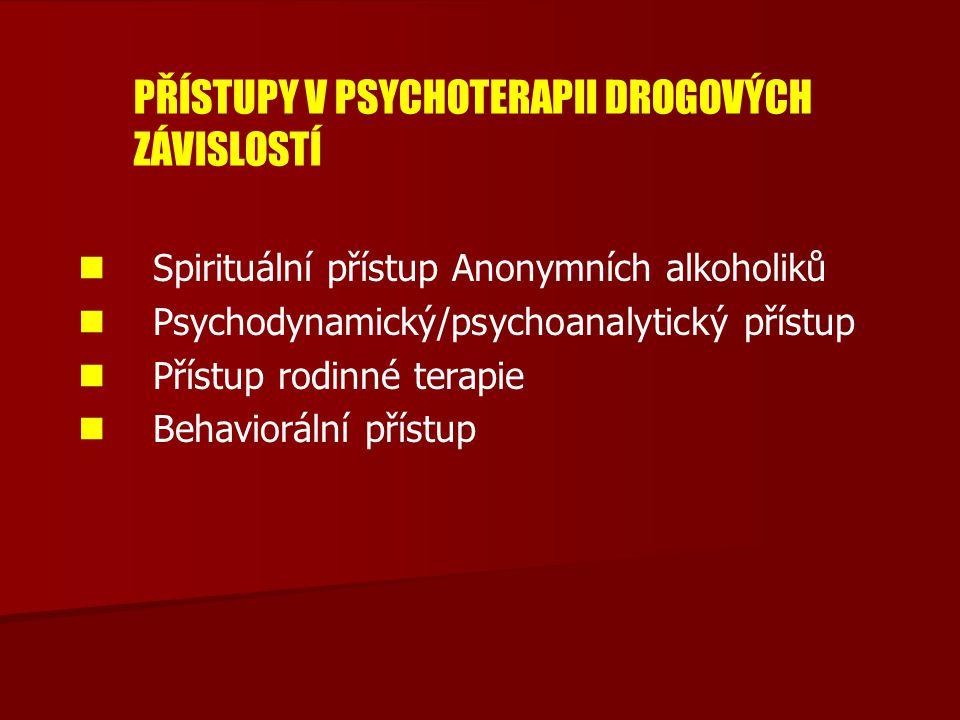 PŘÍSTUPY V PSYCHOTERAPII DROGOVÝCH ZÁVISLOSTÍ Spirituální přístup Anonymních alkoholiků Psychodynamický/psychoanalytický přístup Přístup rodinné terap