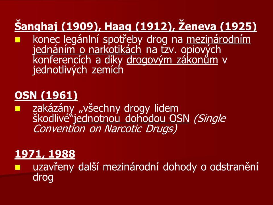 Šanghaj (1909), Haag (1912), Ženeva (1925) konec legánlní spotřeby drog na mezinárodním jednáním o narkotikách na tzv. opiových konferencích a díky dr