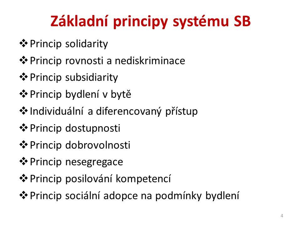 Základní principy systému SB  Princip solidarity  Princip rovnosti a nediskriminace  Princip subsidiarity  Princip bydlení v bytě  Individuální a