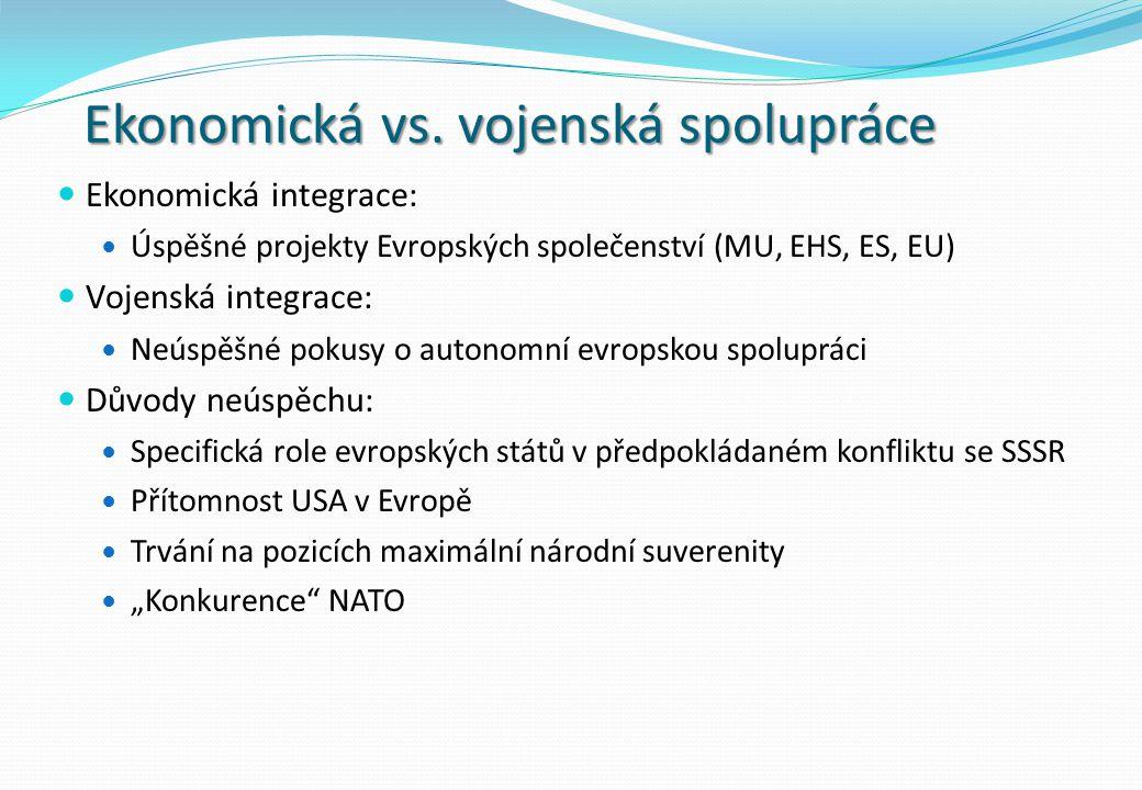 Ekonomická vs. vojenská spolupráce Ekonomická integrace: Úspěšné projekty Evropských společenství (MU, EHS, ES, EU) Vojenská integrace: Neúspěšné poku