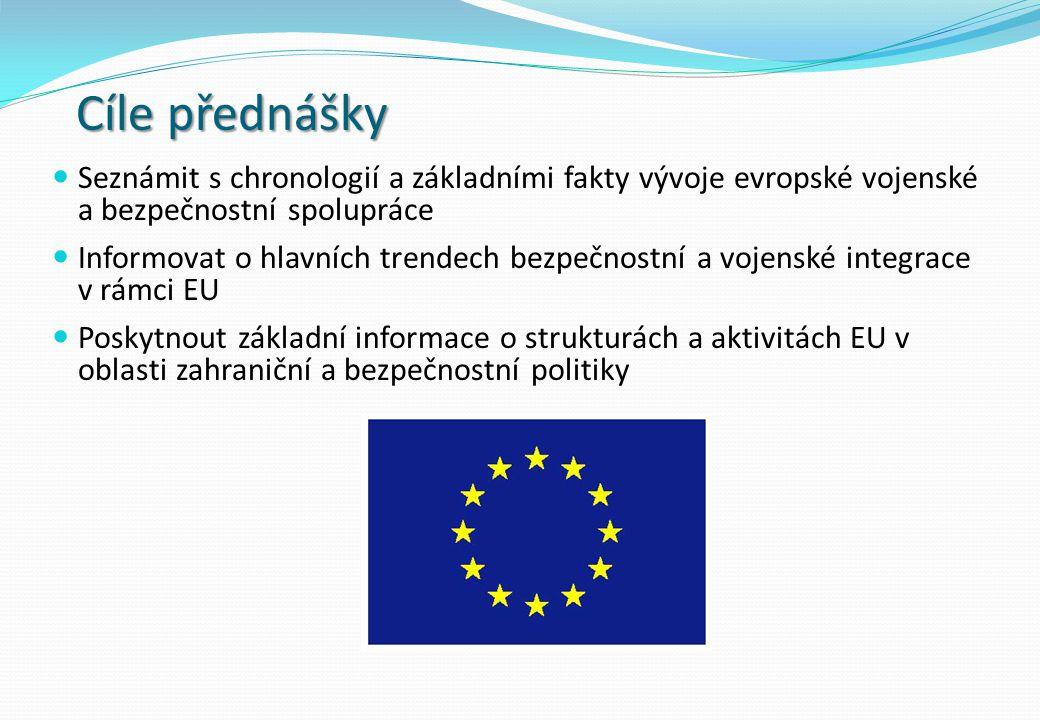 Cíle přednášky Seznámit s chronologií a základními fakty vývoje evropské vojenské a bezpečnostní spolupráce Informovat o hlavních trendech bezpečnostn