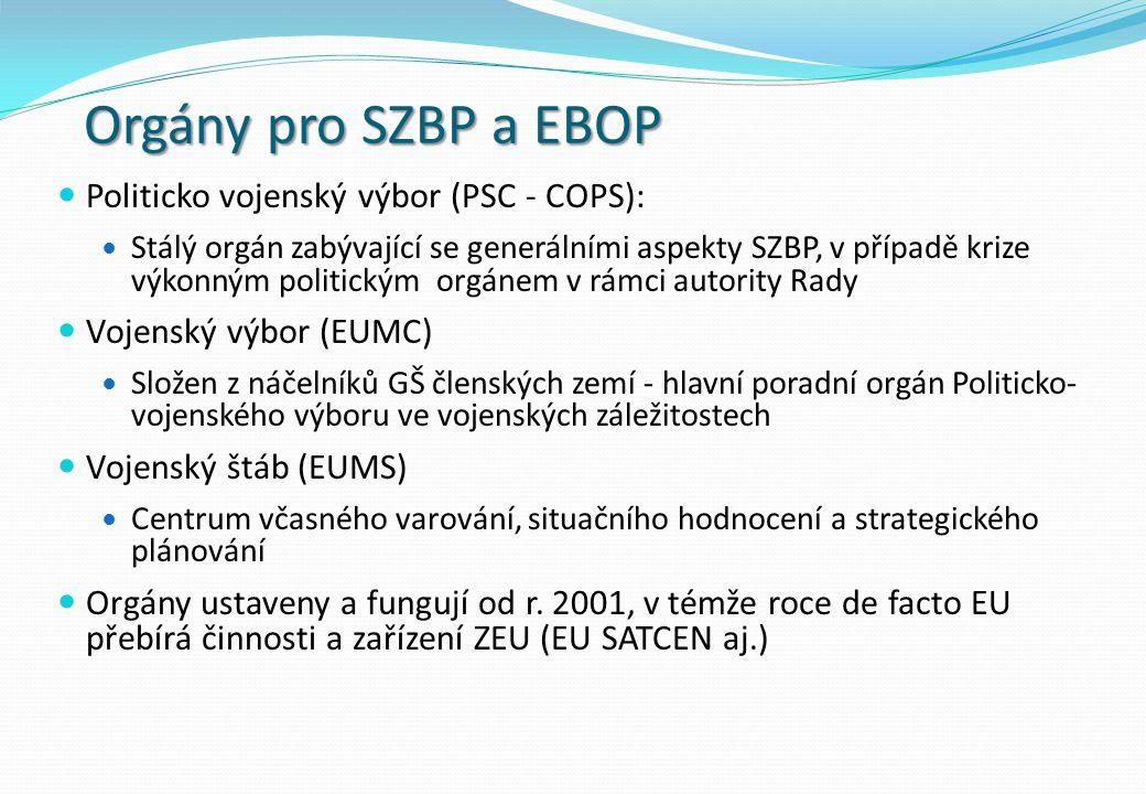 Orgány pro SZBP a EBOP Politicko vojenský výbor (PSC - COPS): Stálý orgán zabývající se generálními aspekty SZBP, v případě krize výkonným politickým