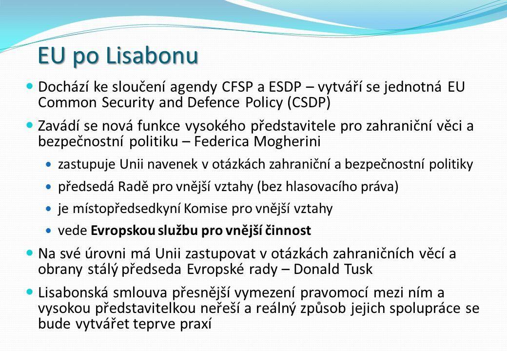 EU po Lisabonu Dochází ke sloučení agendy CFSP a ESDP – vytváří se jednotná EU Common Security and Defence Policy (CSDP) Zavádí se nová funkce vysokéh