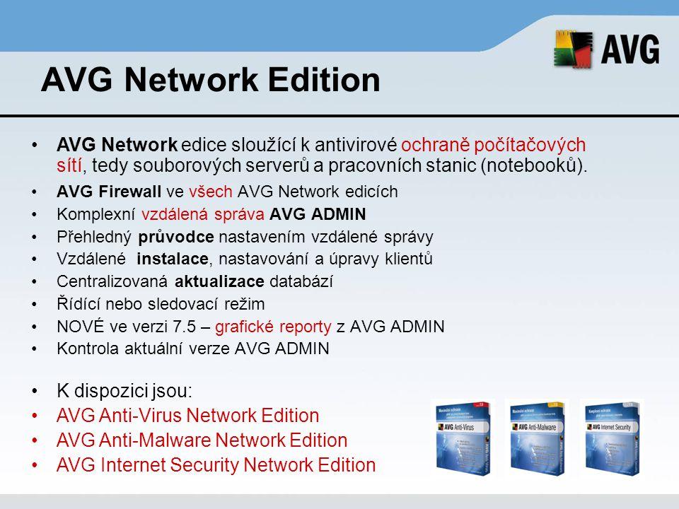 AVG Network Edition AVG Firewall ve všech AVG Network edicích Komplexní vzdálená správa AVG ADMIN Přehledný průvodce nastavením vzdálené správy Vzdále
