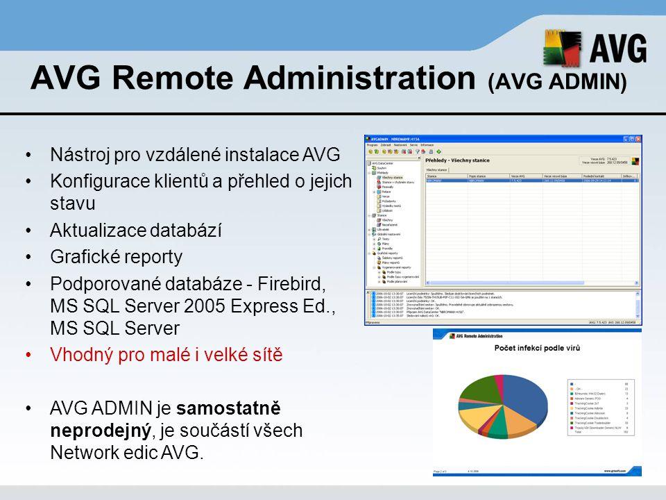 AVG Remote Administration (AVG ADMIN) Nástroj pro vzdálené instalace AVG Konfigurace klientů a přehled o jejich stavu Aktualizace databází Grafické re