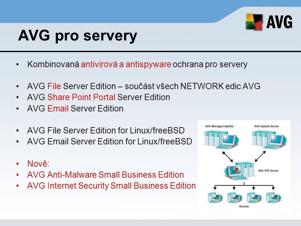 AVG pro servery Kombinovaná antivirová a antispyware ochrana pro servery AVG File Server Edition – součást všech NETWORK edic AVG AVG Share Point Port