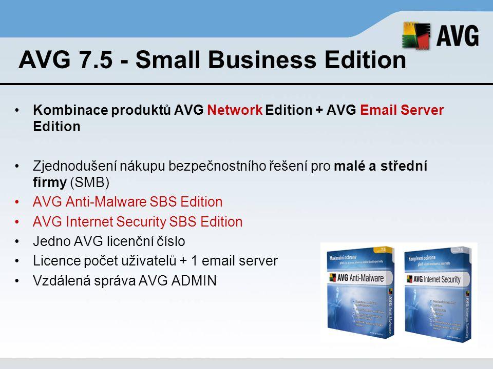 AVG 7.5 - Small Business Edition Kombinace produktů AVG Network Edition + AVG Email Server Edition Zjednodušení nákupu bezpečnostního řešení pro malé