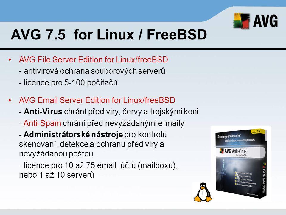 AVG 7.5 for Linux / FreeBSD AVG File Server Edition for Linux/freeBSD - antivirová ochrana souborových serverů - licence pro 5-100 počítačů AVG Email