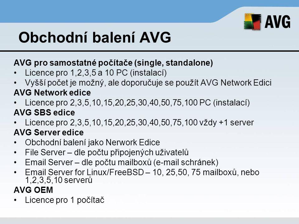 Obchodní balení AVG AVG pro samostatné počítače (single, standalone) Licence pro 1,2,3,5 a 10 PC (instalací) Vyšší počet je možný, ale doporučuje se p