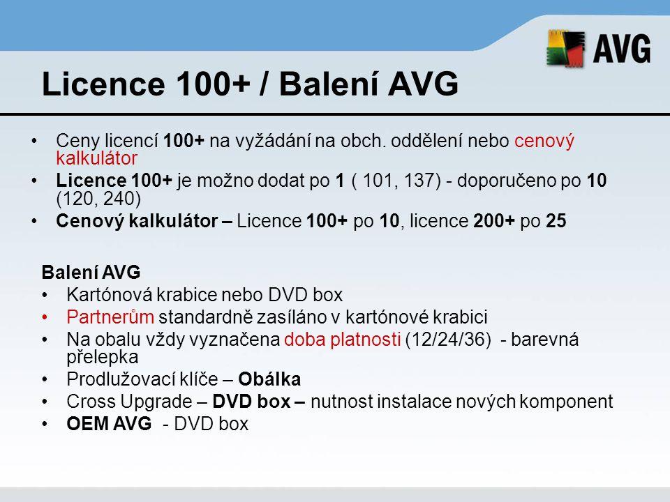 Licence 100+ / Balení AVG Ceny licencí 100+ na vyžádání na obch. oddělení nebo cenový kalkulátor Licence 100+ je možno dodat po 1 ( 101, 137) - doporu