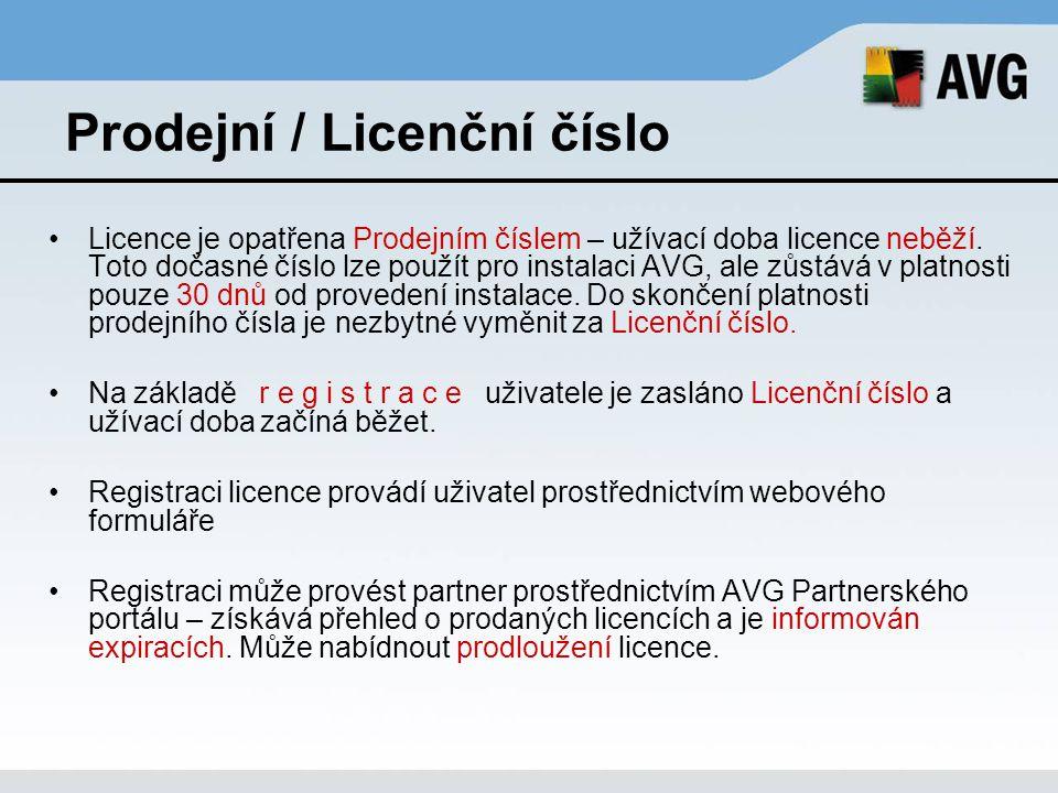Prodejní / Licenční číslo Licence je opatřena Prodejním číslem – užívací doba licence neběží. Toto dočasné číslo lze použít pro instalaci AVG, ale zůs