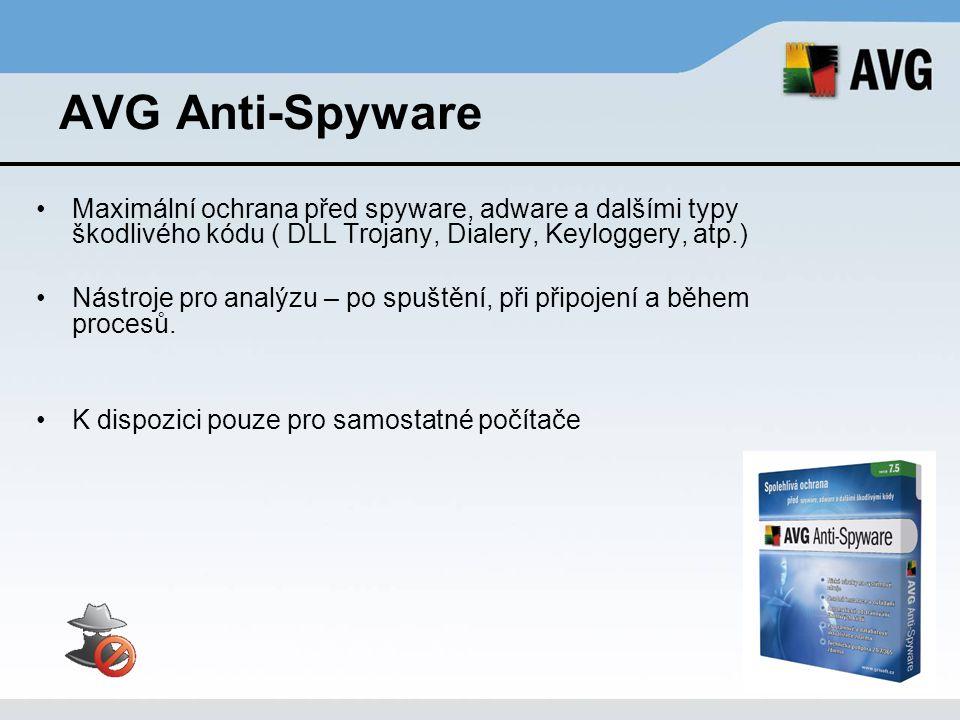 AVG Anti-Virus Professional Spolehlivá ochrana před viry, červy a potenciálně nežádoucími programy (PUP) Menší objem přenášených dat při aktualizaci Přehledné uživatelské rozhraní Rozsáhlé možnosti konfigurace Virové definice jsou vydávány obvykle 1x denně Základní a pokročilé uživatelské rozhraní K dispozici –Pro samostatné počítače - AVG Anti-Virus –S centrální správou - AVG Anti-Virus Network Edition –V produktech pro ochranu serverů (Email server, File server)
