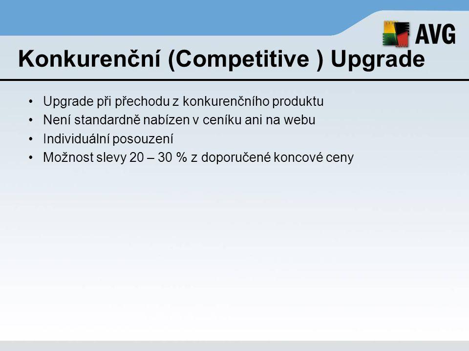 Konkurenční (Competitive ) Upgrade Upgrade při přechodu z konkurenčního produktu Není standardně nabízen v ceníku ani na webu Individuální posouzení M
