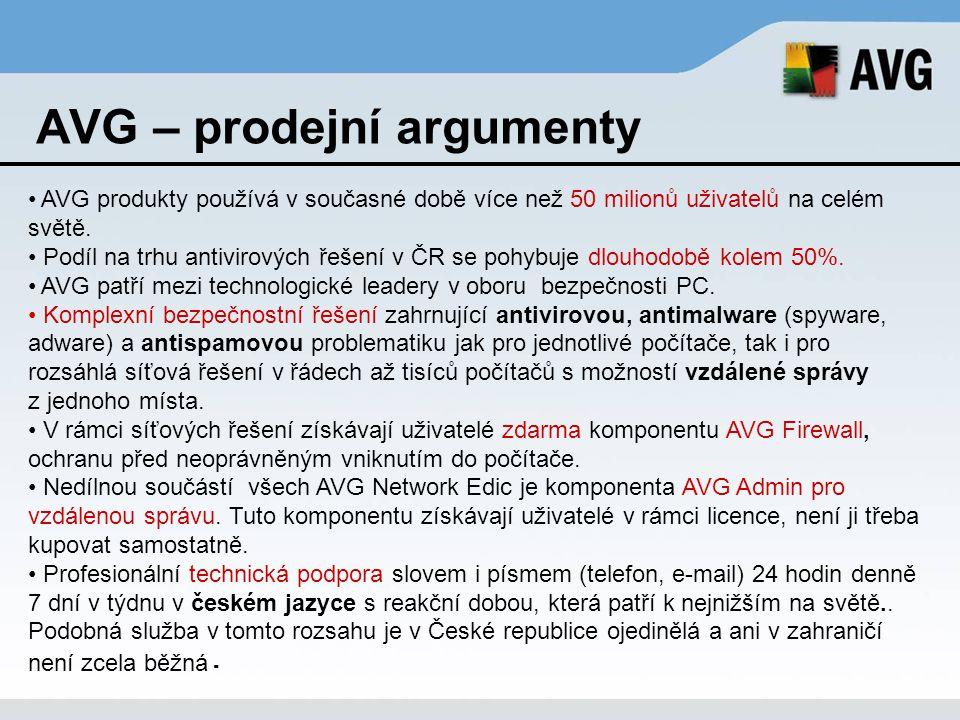 AVG – prodejní argumenty AVG produkty používá v současné době více než 50 milionů uživatelů na celém světě. Podíl na trhu antivirových řešení v ČR se