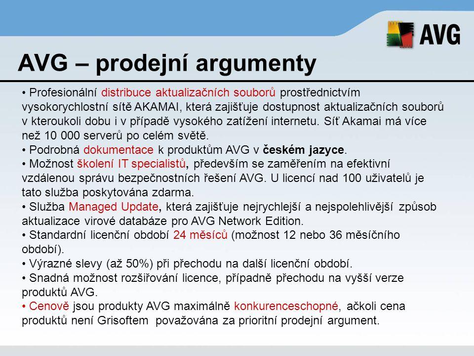 AVG – prodejní argumenty Profesionální distribuce aktualizačních souborů prostřednictvím vysokorychlostní sítě AKAMAI, která zajišťuje dostupnost aktu
