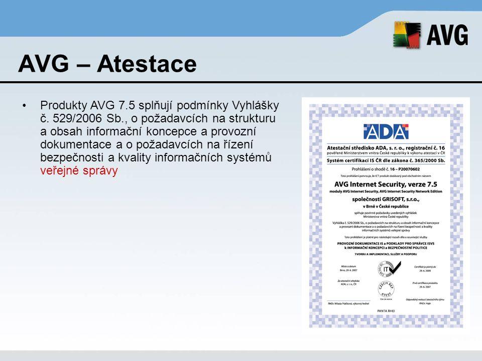 AVG – Atestace Produkty AVG 7.5 splňují podmínky Vyhlášky č. 529/2006 Sb., o požadavcích na strukturu a obsah informační koncepce a provozní dokumenta