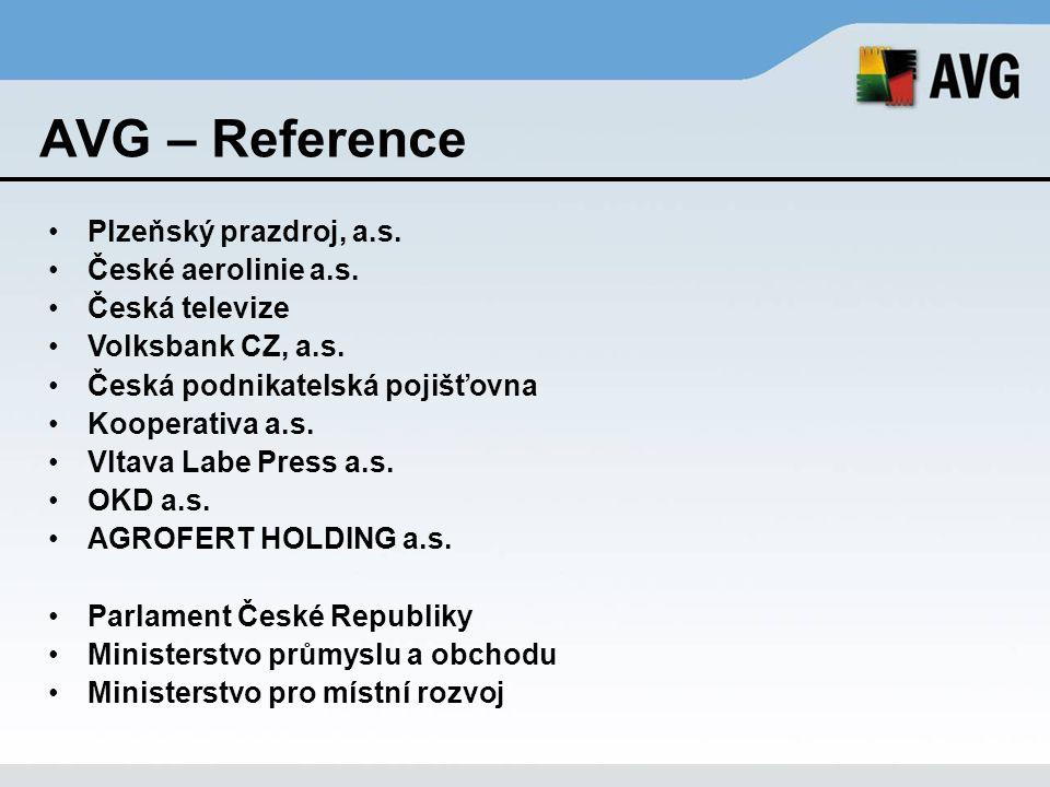 AVG – Reference Plzeňský prazdroj, a.s. České aerolinie a.s. Česká televize Volksbank CZ, a.s. Česká podnikatelská pojišťovna Kooperativa a.s. Vltava