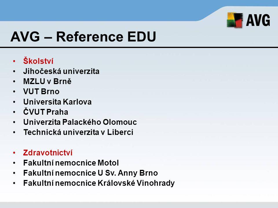 AVG – Reference EDU Školství Jihočeská univerzita MZLU v Brně VUT Brno Universita Karlova ČVUT Praha Univerzita Palackého Olomouc Technická univerzita