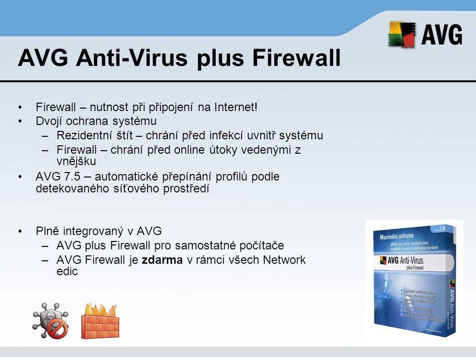 AVG Anti-Virus plus Firewall Firewall – nutnost při připojení na Internet! Dvojí ochrana systému –Rezidentní štít – chrání před infekcí uvnitř systému