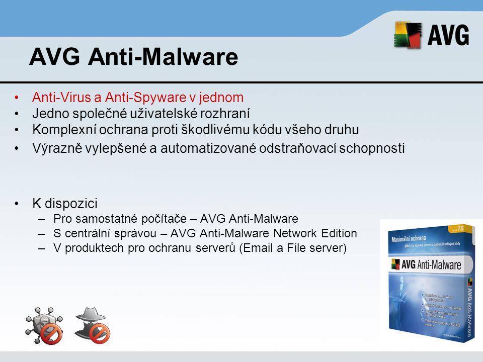 Plně integrované řešení zabezpečující počítač proti –Virům – antivirus –Spyware a dalšímu škodlivému kódu – antispyware –Neoprávněnému přístupu do počítače – firewall –Nevyžádané poště – antispam K dispozici –Pro samostatné počítače – AVG Internet Security –S centrální správou – AVG Internet Security Network Edition –AVG Internet Security Home Edition – speciální edice pro domácí uživatele – licence pro 3 PC za výhodnou cenu AVG Internet Security