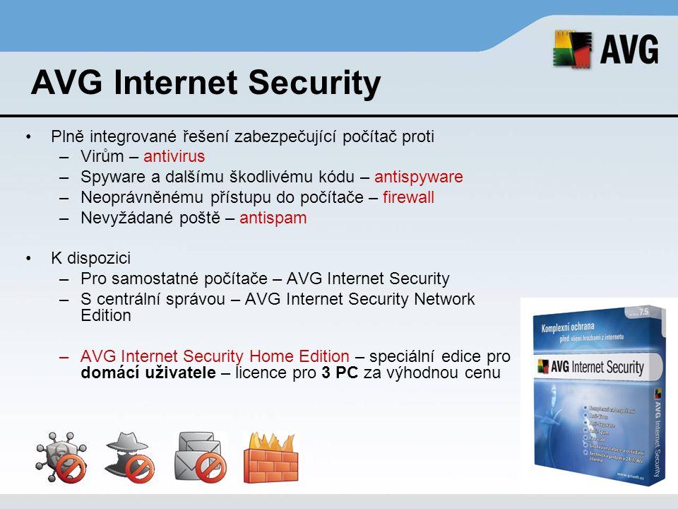 AVG Anti-Virus Professional 7.5 for Linux/FreeBSD Antivirová ochrana pracovních stanic s operačním systémem Linux nebo FreeBSD Kompatibilní s nejrozšířenějšími Linux distribucemi (RedHat, SuSe, Mandriva, Debian), ale i ostatními i386 Linux distribuce Snadná instalace a konfigurace.