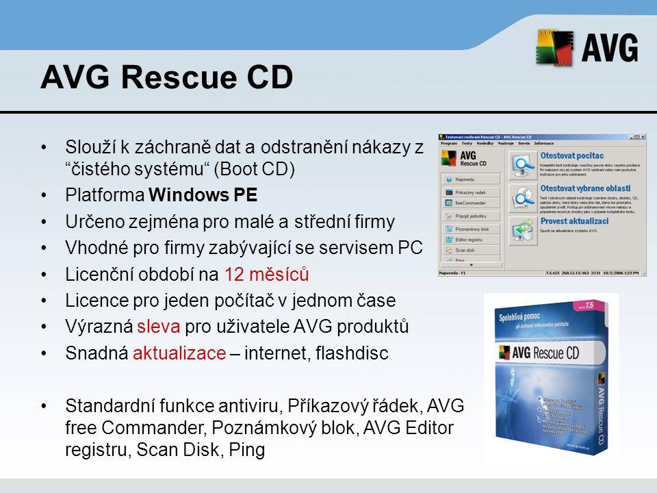 """AVG Rescue CD Slouží k záchraně dat a odstranění nákazy z """"čistého systému"""" (Boot CD) Platforma Windows PE Určeno zejména pro malé a střední firmy Vho"""