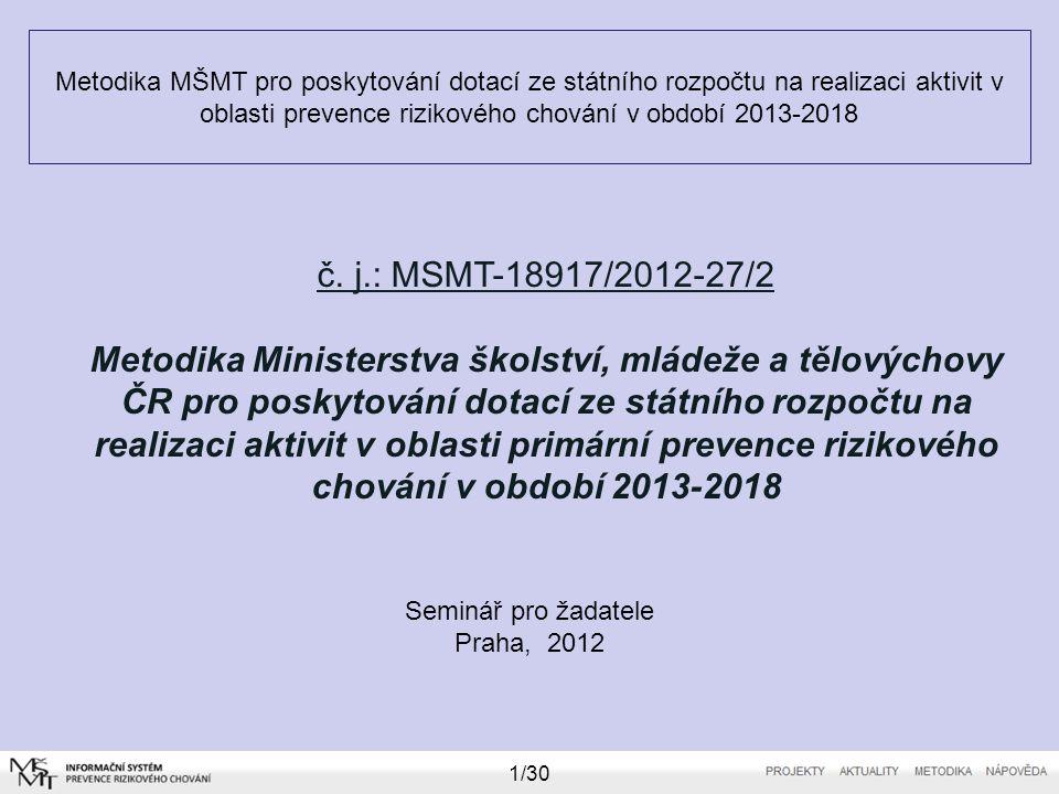 Metodika MŠMT pro poskytování dotací ze státního rozpočtu na realizaci aktivit v oblasti prevence rizikového chování v období 2013-2018 Seminář pro žadatele Praha, 2012 2/30 Zhodnocení dotačního období 2010-2012 a) Transformace dotační politiky po roce 2010 b) Statistika projektů - 2012