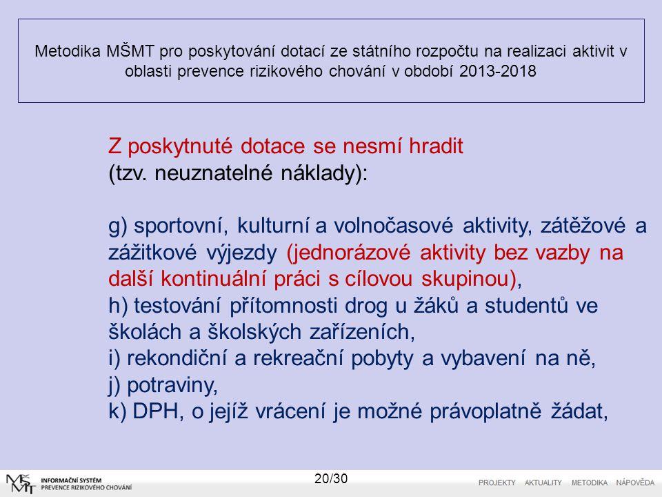 Metodika MŠMT pro poskytování dotací ze státního rozpočtu na realizaci aktivit v oblasti prevence rizikového chování v období 2013-2018 20/30 Z poskyt