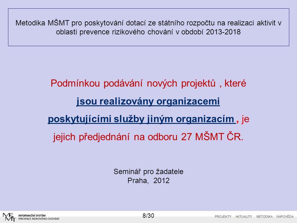 Metodika MŠMT pro poskytování dotací ze státního rozpočtu na realizaci aktivit v oblasti prevence rizikového chování v období 2013-2018 Seminář pro žadatele Praha, 2012 9/30 Oprávněný program a oprávněný žadatel 1.Dotace může být poskytnuta pouze na podporu následujících typů programů v oblasti prevence rizikového chování: a) Certifikované programy dlouhodobé všeobecné primární prevence užívání drog, zvláště zaměřené na prevenci užívání legálních drog - alkoholu, tabákových výrobků vyjma škol a školských zařízení.