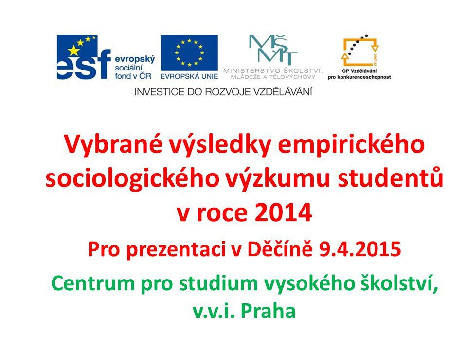 Vybrané výsledky empirického sociologického výzkumu studentů v roce 2014 Pro prezentaci v Děčíně 9.4.2015 Centrum pro studium vysokého školství, v.v.i.