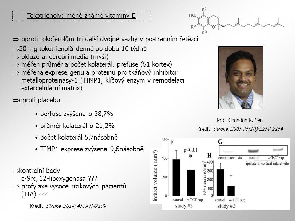 Tokotrienoly: méně známé vitamíny E  oproti tokoferolům tři další dvojné vazby v postranním řetězci  50 mg tokotrienolů denně po dobu 10 týdnů  okl