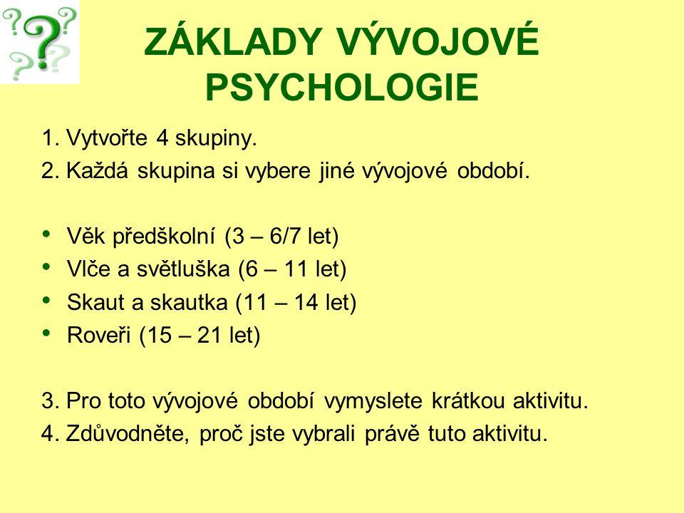 ZÁKLADY VÝVOJOVÉ PSYCHOLOGIE 1. Vytvořte 4 skupiny. 2. Každá skupina si vybere jiné vývojové období. Věk předškolní (3 – 6/7 let) Vlče a světluška (6