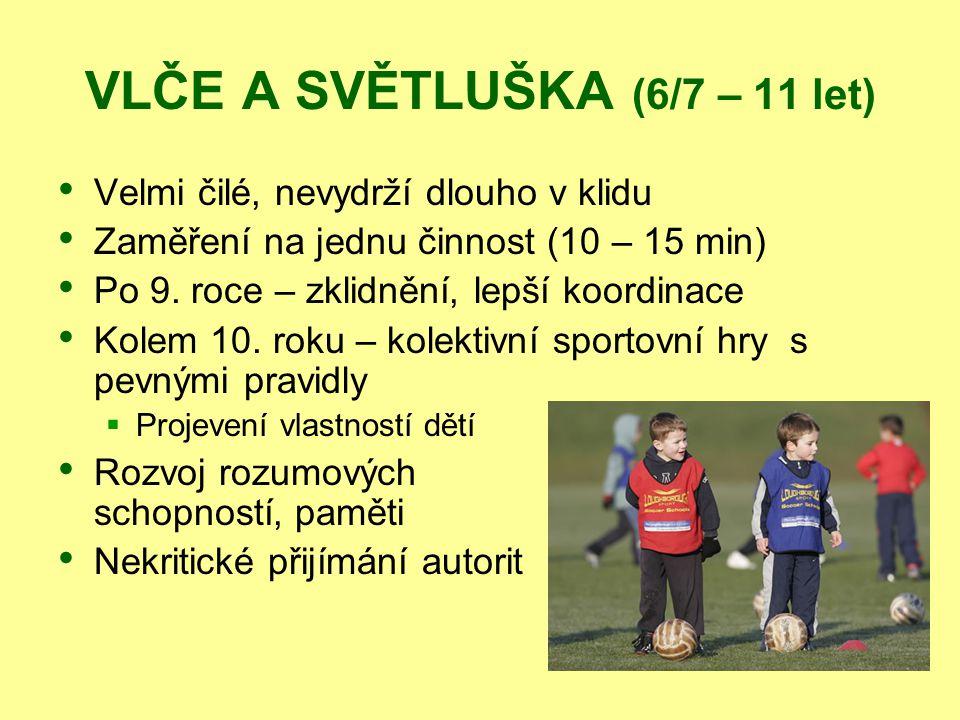 VLČE A SVĚTLUŠKA (6/7 – 11 let) Velmi čilé, nevydrží dlouho v klidu Zaměření na jednu činnost (10 – 15 min) Po 9. roce – zklidnění, lepší koordinace K