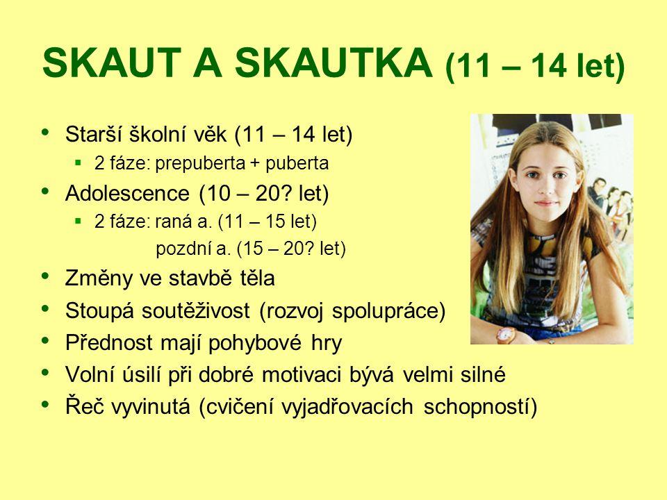 SKAUT A SKAUTKA (11 – 14 let) Starší školní věk (11 – 14 let)  2 fáze: prepuberta + puberta Adolescence (10 – 20? let)  2 fáze: raná a. (11 – 15 let