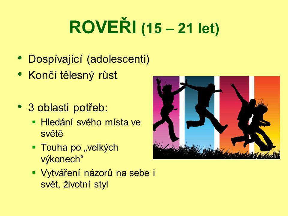 """ROVEŘI (15 – 21 let) Dospívající (adolescenti) Končí tělesný růst 3 oblasti potřeb:  Hledání svého místa ve světě  Touha po """"velkých výkonech""""  Vyt"""