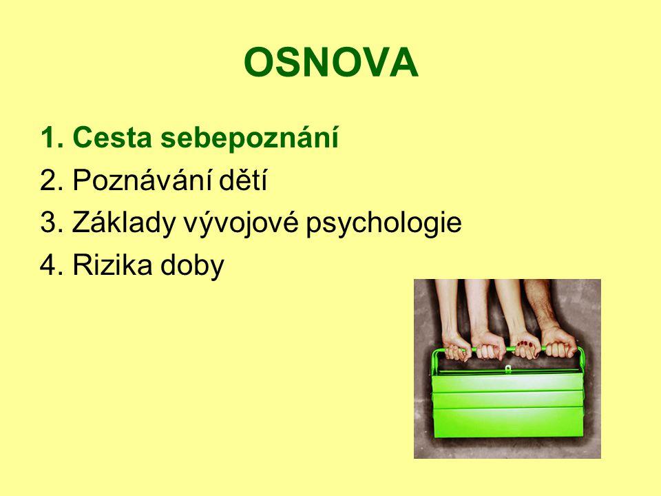 OSNOVA 1. Cesta sebepoznání 2. Poznávání dětí 3. Základy vývojové psychologie 4. Rizika doby