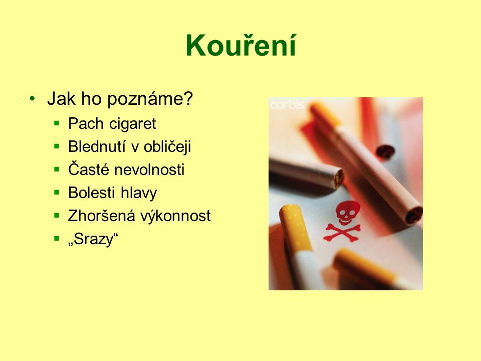 """Kouření Jak ho poznáme?  Pach cigaret  Blednutí v obličeji  Časté nevolnosti  Bolesti hlavy  Zhoršená výkonnost  """"Srazy"""""""