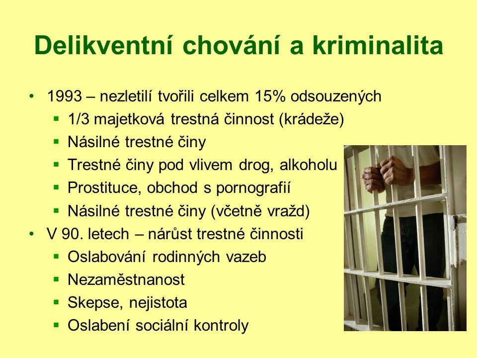 Delikventní chování a kriminalita 1993 – nezletilí tvořili celkem 15% odsouzených  1/3 majetková trestná činnost (krádeže)  Násilné trestné činy  T