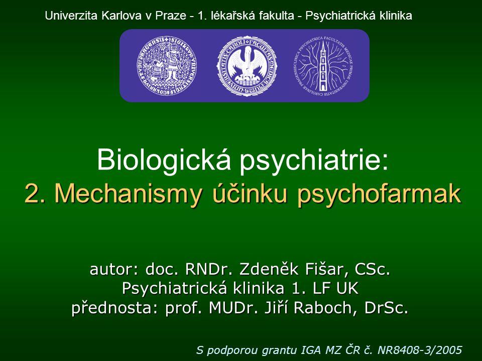 Biologická psychiatrie Při formulaci a ověřování hypotéz o molekulárních mechanismech provázejících vznik nebo léčbu duševních poruch vycházíme hlavně z pozorování mechanismů účinků látek s psychotropními účinky a to zvláště v oblasti chemických synapsí.