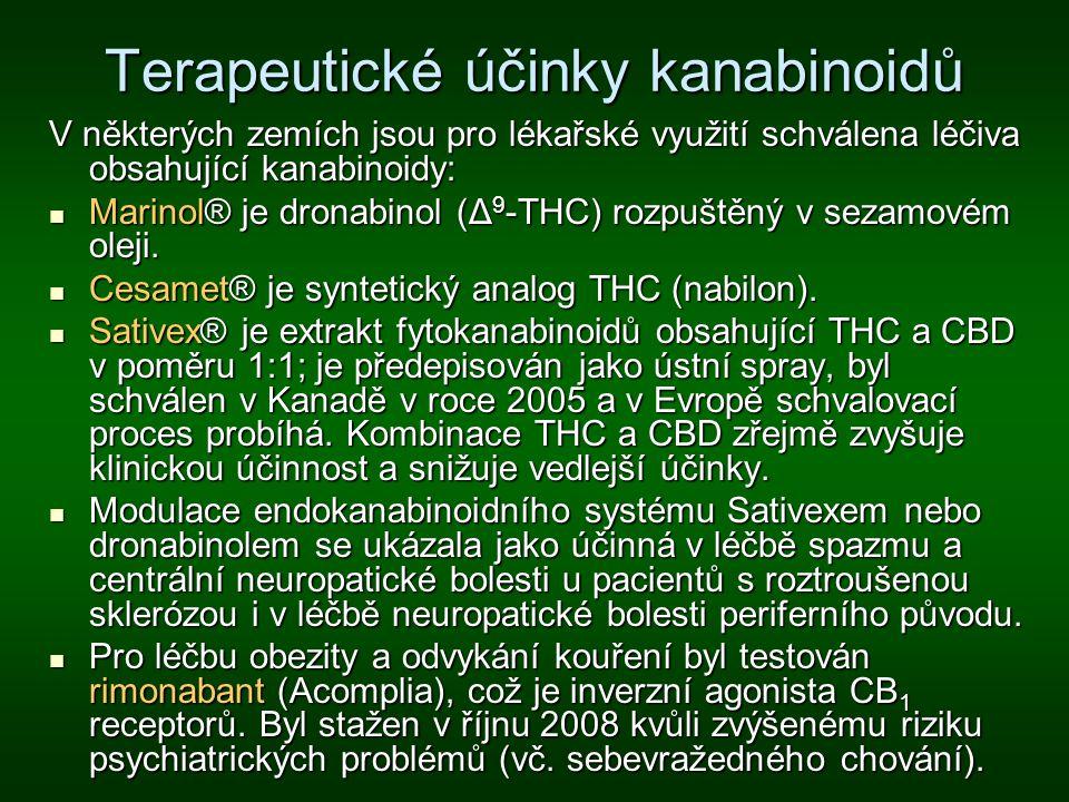 Terapeutické účinky kanabinoidů V některých zemích jsou pro lékařské využití schválena léčiva obsahující kanabinoidy: Marinol® je dronabinol (Δ 9 -THC