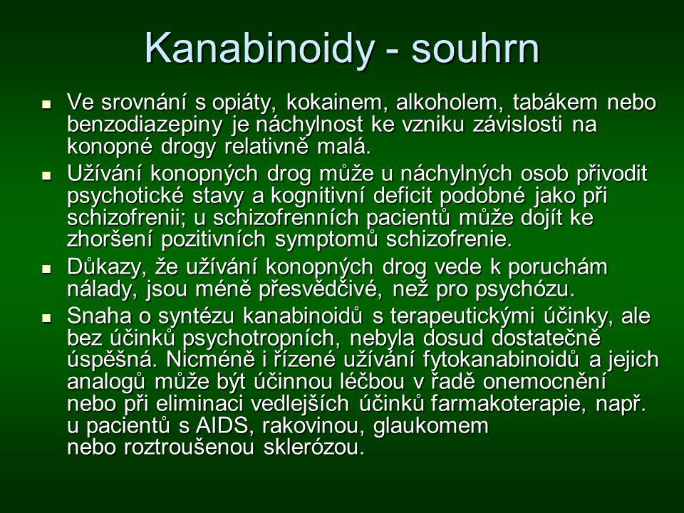 Kanabinoidy - souhrn Ve srovnání s opiáty, kokainem, alkoholem, tabákem nebo benzodiazepiny je náchylnost ke vzniku závislosti na konopné drogy relati