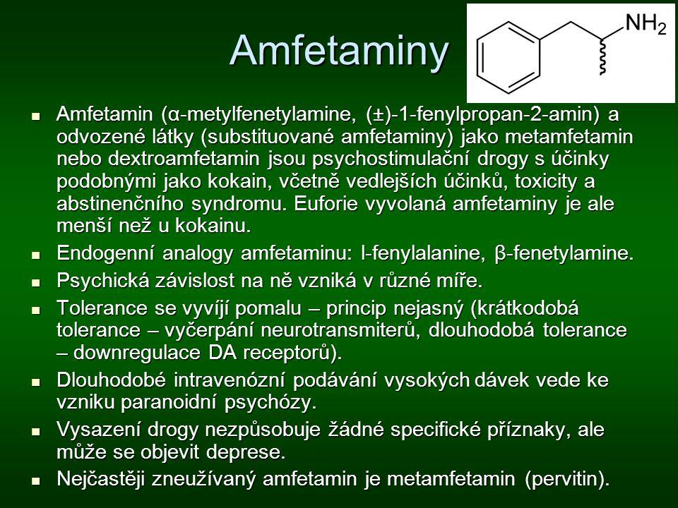 Amfetaminy Amfetamin (α-metylfenetylamine, (±)-1-fenylpropan-2-amin) a odvozené látky (substituované amfetaminy) jako metamfetamin nebo dextroamfetami