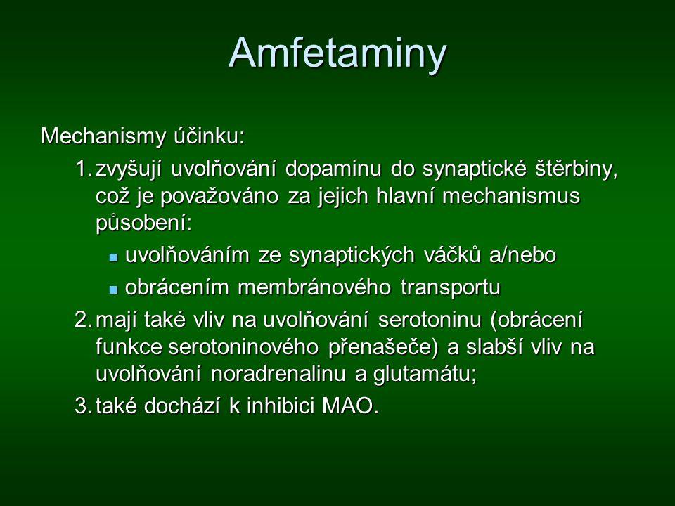 Amfetaminy Mechanismy účinku: 1.zvyšují uvolňování dopaminu do synaptické štěrbiny, což je považováno za jejich hlavní mechanismus působení: uvolňován