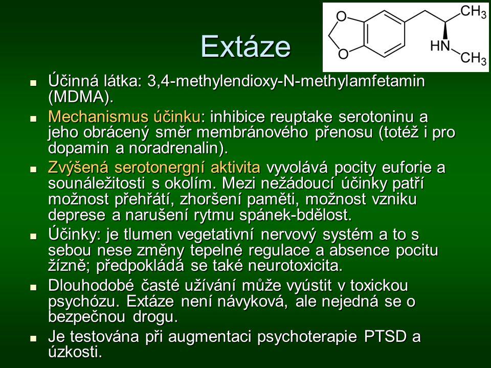 Extáze Účinná látka: 3,4-methylendioxy-N-methylamfetamin (MDMA). Účinná látka: 3,4-methylendioxy-N-methylamfetamin (MDMA). Mechanismus účinku: inhibic