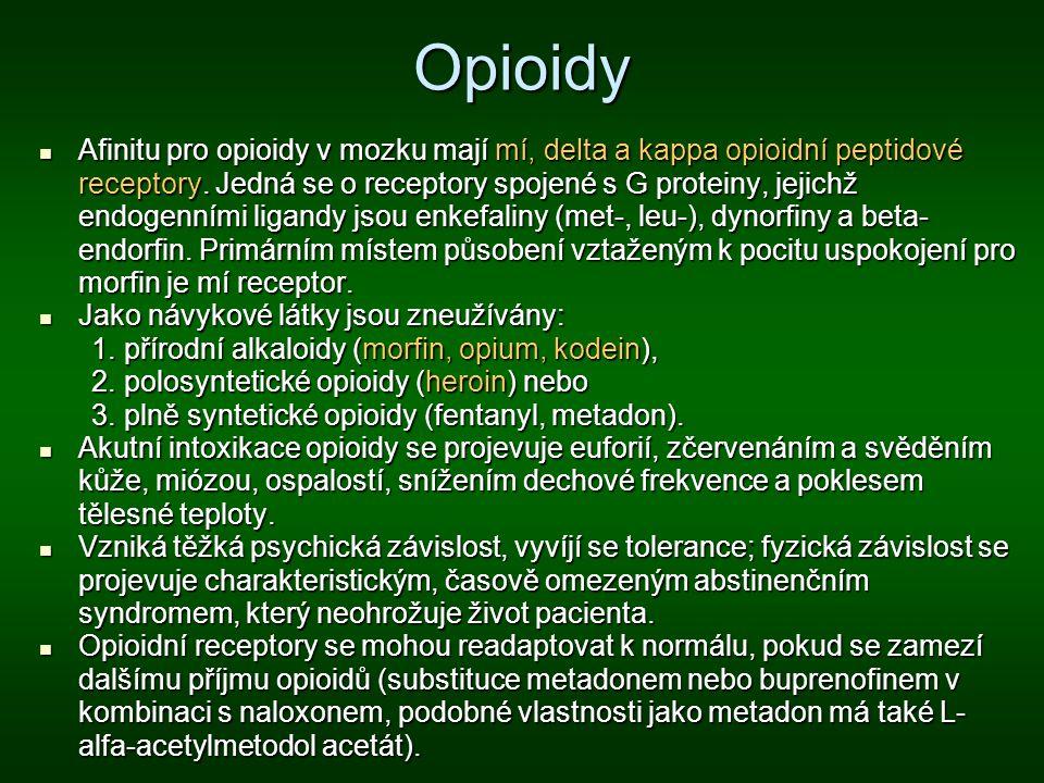 Opioidy Afinitu pro opioidy v mozku mají mí, delta a kappa opioidní peptidové receptory. Jedná se o receptory spojené s G proteiny, jejichž endogenním
