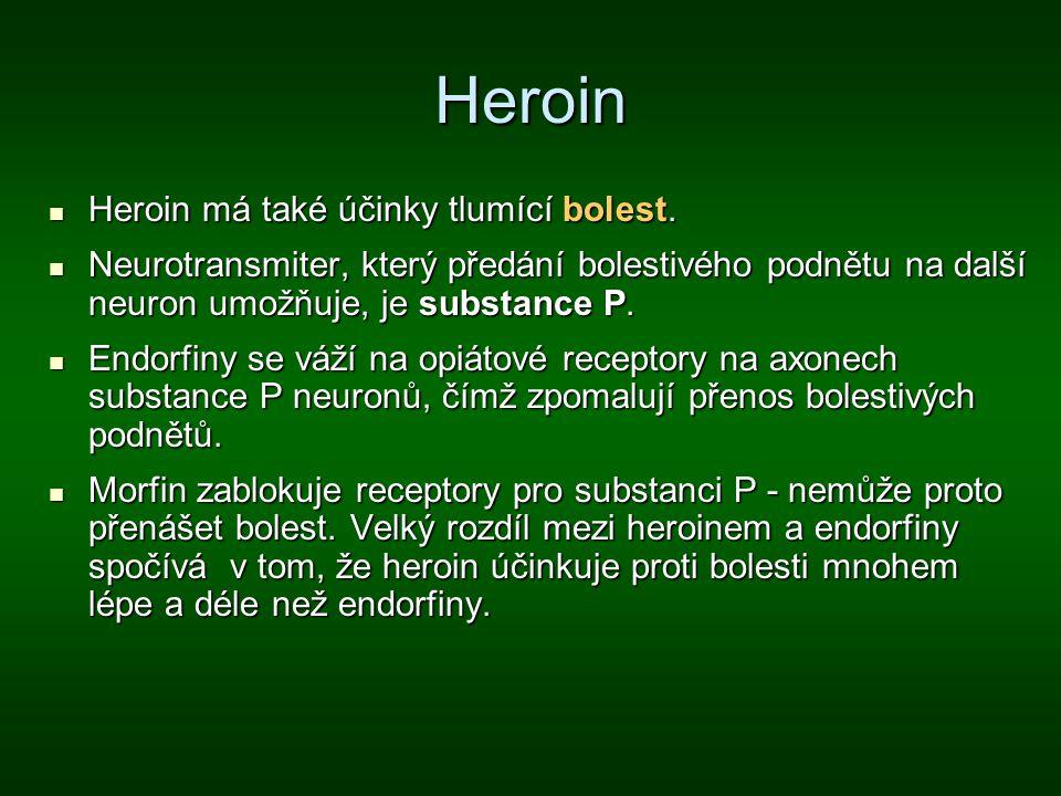 Heroin Heroin má také účinky tlumící bolest. Heroin má také účinky tlumící bolest. Neurotransmiter, který předání bolestivého podnětu na další neuron