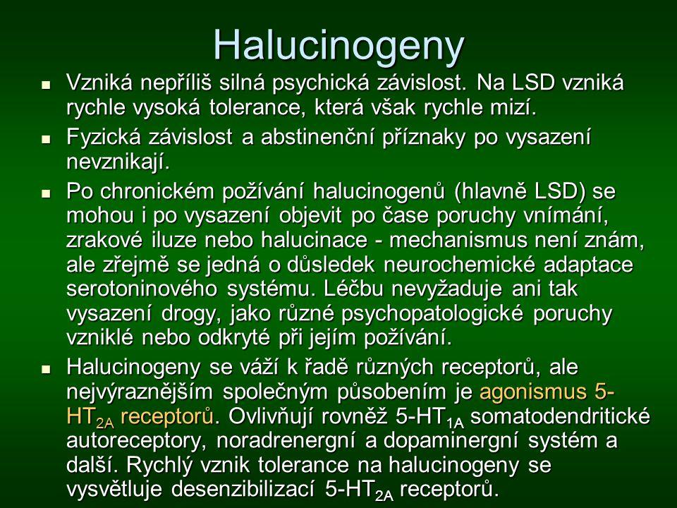Halucinogeny Vzniká nepříliš silná psychická závislost. Na LSD vzniká rychle vysoká tolerance, která však rychle mizí. Vzniká nepříliš silná psychická