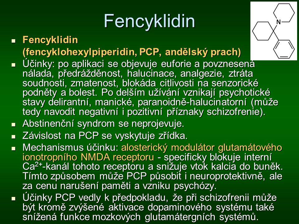 Fencyklidin Fencyklidin Fencyklidin (fencyklohexylpiperidin, PCP, andělský prach) Účinky: po aplikaci se objevuje euforie a povznesená nálada, předráž